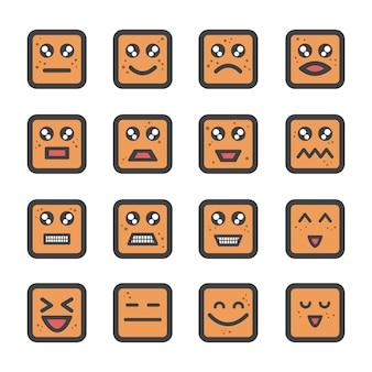 Bolacha fofa cara emoji com ícone de sardas