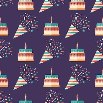 Bolachas de festa e bolos padrão sem costura arte plana.