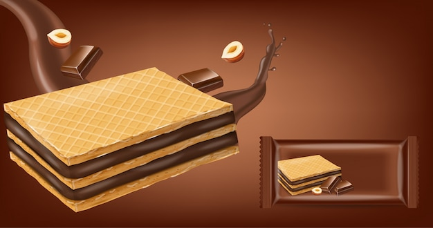 Bolachas de waffles de chocolate mock up