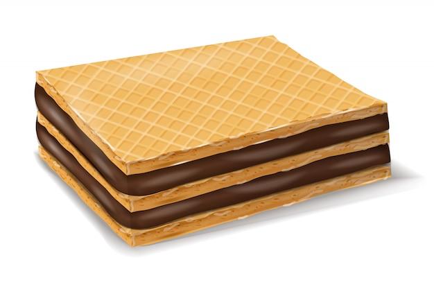Bolachas de waffles de chocolate