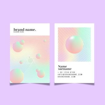 Bolas 3d coloridas pastel cartões de visita