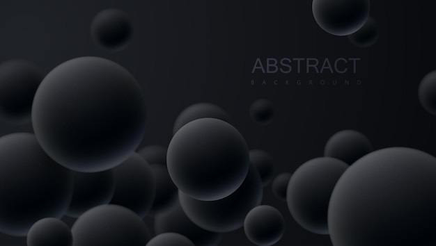 Bolas 3d pretas caindo fundo abstrato