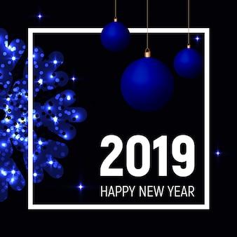 Bolas azuis e floco de neve, modelo de ano novo de 2019
