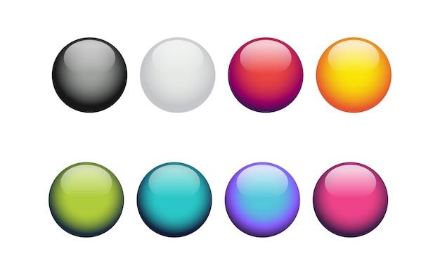 Bolas brilhantes de cores diferentes, isoladas em branco.