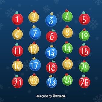Bolas calendário do advento
