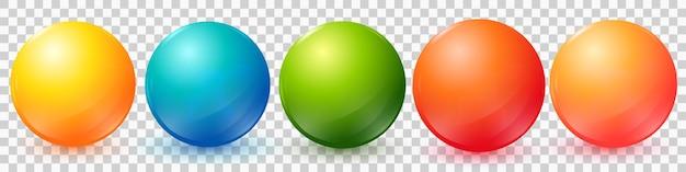 Bolas coloridas de vetor definidas com foguetes e sombras para ícones distintivos isolados no fundo branco eps10