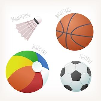 Bolas com cores tradicionais para esportes populares com nomes