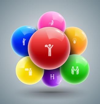 Bolas com ícones de homem de negócios para o conceito de negócio