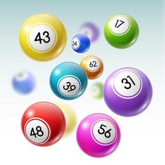 Bolas com números de loteria, loteria ou jogo de bingo