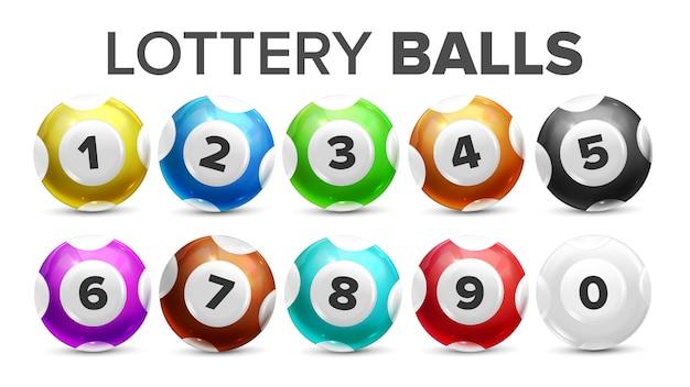 Bolas com números para jogo de loteria