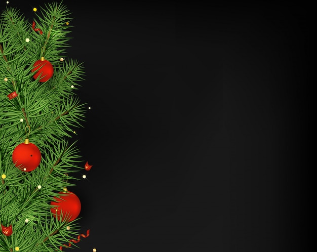 Bolas de árvore de natal vermelho, serpentina, luzes no preto.