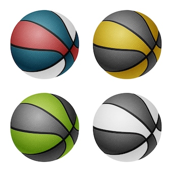 Bolas de basquete de cores combinadas.