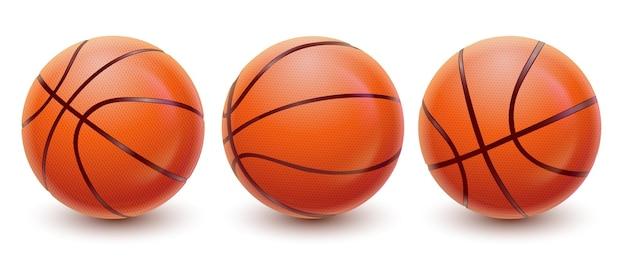 Bolas de basquete realistas de vetor em visualizações diferentes equipamento esportivo com textura e sombra eps10