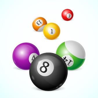 Bolas de bilhar coloridas com números