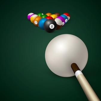 Bolas de bilhar. mesa de bilhar verde. ilustração
