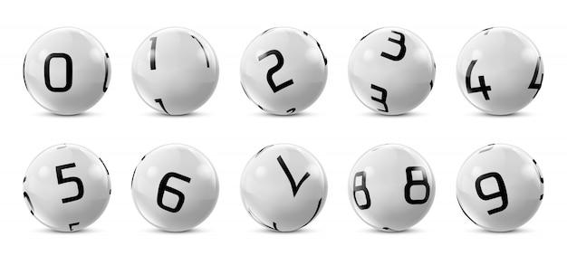 Bolas de bingo cinza com números