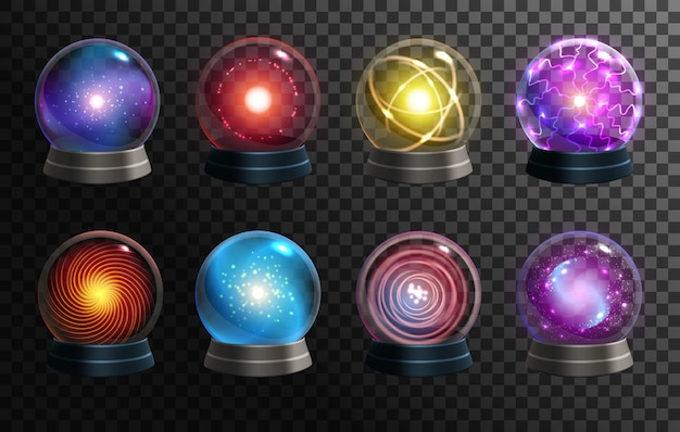 Bolas de cristal mágicas, globos da cartomante