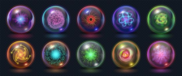 Bolas de energia mágica realistas com efeitos de fogo, luzes e relâmpagos. esfera de poder brilhante com explosão de plasma. conjunto de vetores de esfera de cristal de fantasia. elemento espiritual místico para clarividente
