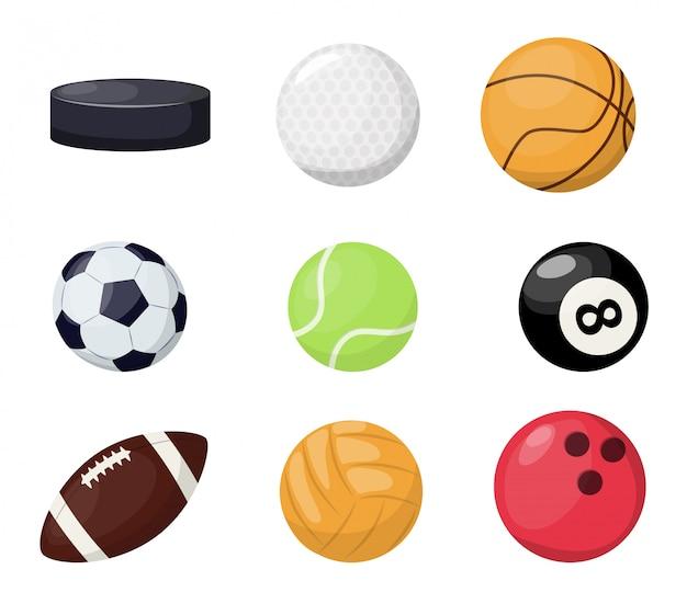 Bolas de esporte em fundo branco.