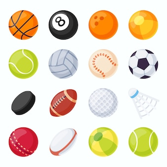 Bolas de esporte. equipamentos de futebol, tênis, vôlei, beisebol e futebol. disco de hóquei e peteca de badminton. conjunto de vetores de bola de jogo plana. ilustração de basquete e beisebol, vôlei e futebol