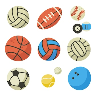 Bolas de esporte. equipamentos para futebol, tênis, beisebol, futebol e boliche. bolas para jogar ilustrações de desenhos animados