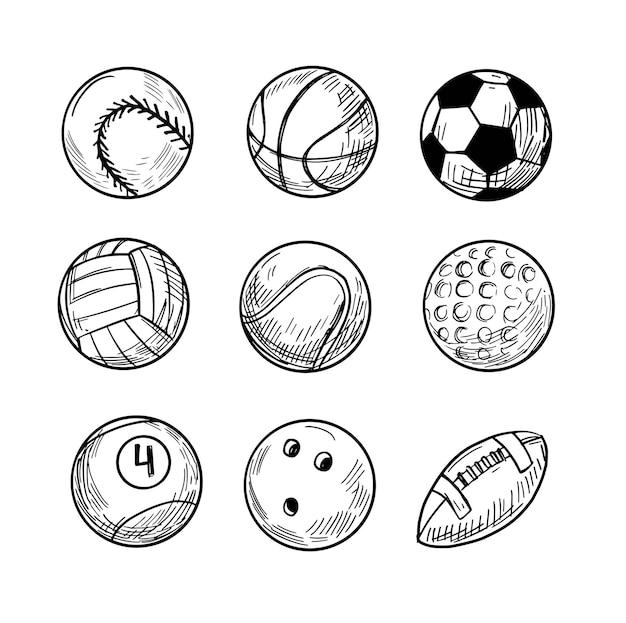 Bolas de esporte, ilustração de desenho vetorial, contorno preto isolado