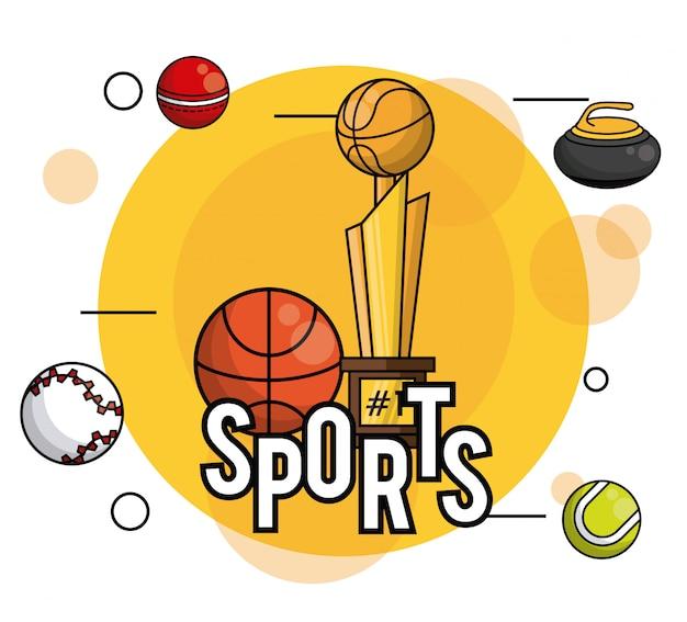 Bolas de esportes equipamentos vibrantes cartão redondo frame