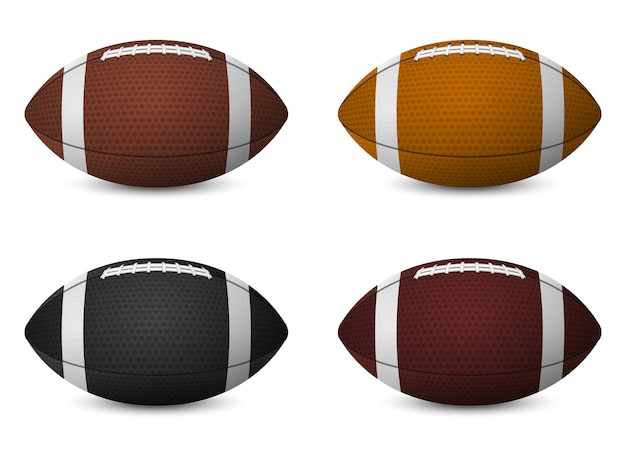 Bolas de futebol americano definidas isoladas no fundo branco.