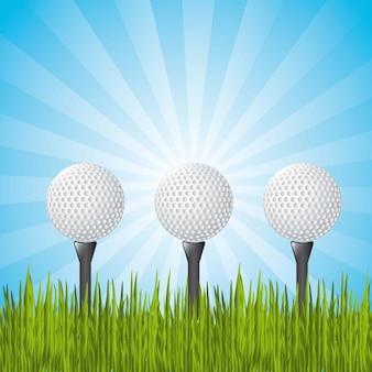 Bolas de golfe sobre a paisagem com ilustração vetorial de grama