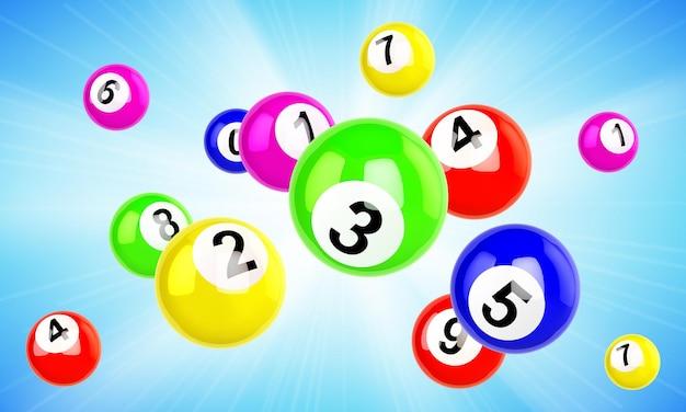 Bolas de loteria coloridas voando