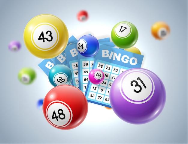 Bolas de loteria e bilhetes de loteria com números