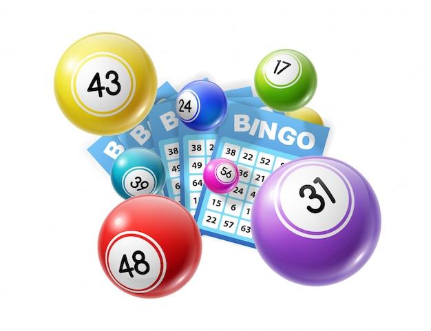 Bolas de loteria e cartões de loteria