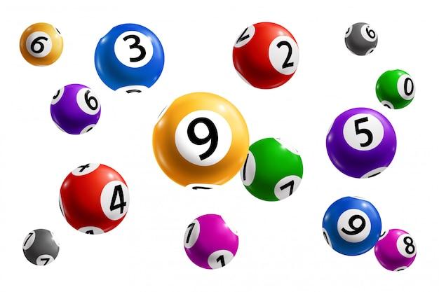 Bolas de loteria e loteria com números