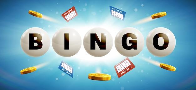 Bolas de loteria isoladas no fundo brilhante azul com bilhetes a