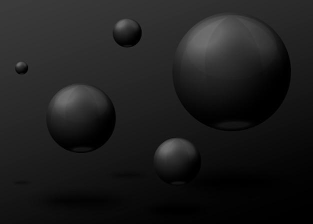 Bolas de mármore preto realistas 3d do vetor, voando no ar, isoladas em fundo escuro.