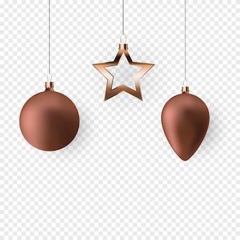 Bolas de natal 3d para design de feriado de ano novo em fundo transparente