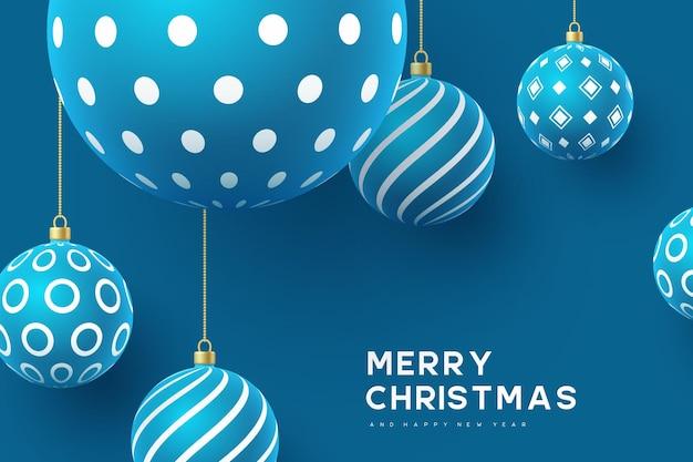 Bolas de natal amarelas com padrão geométrico. estilo 3d realista, fundo abstrato do feriado. ilustração vetorial.