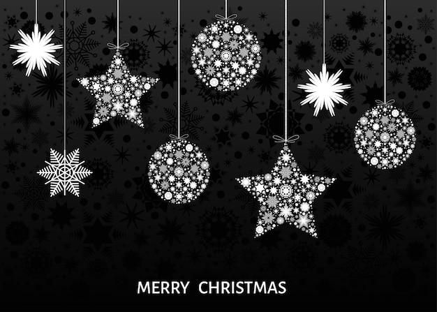 Bolas de natal branco e estrelas em fundo preto. decoração de feliz ano novo. modelo de vetor para cartão ou convite para festa.