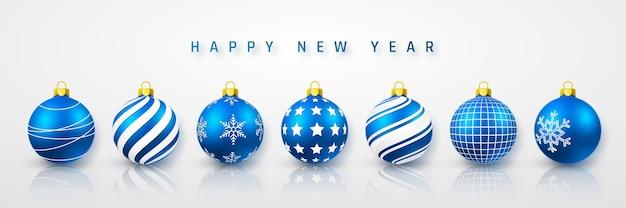 Bolas de natal brilhantes azuis brilhantes. bola de vidro de natal. modelo de decoração de férias. ilustração vetorial.
