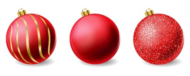 Bolas de natal brilhantes de glitter vermelho