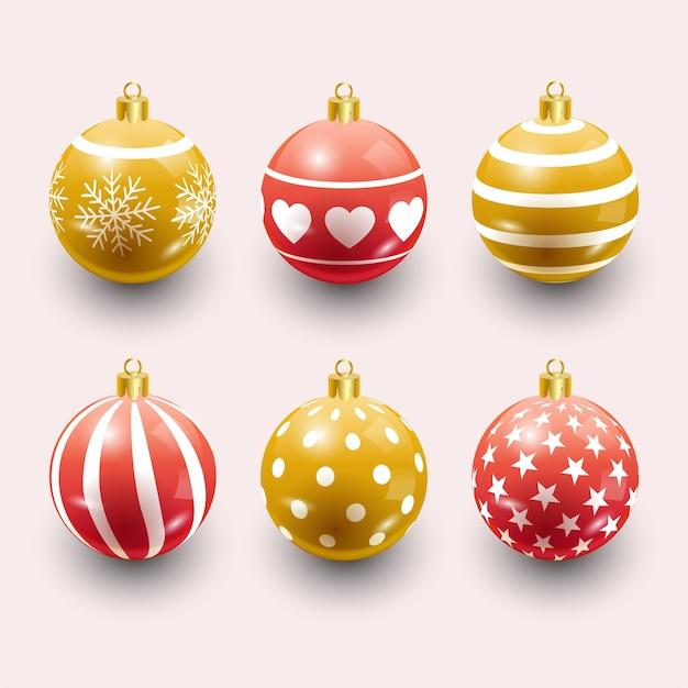 Bolas de natal coloridas. conjunto de decorações realistas isoladas.