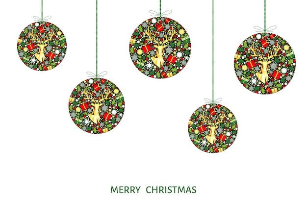 Bolas de natal coloridas. decoração dourada, vermelha, verde e branca. fundo de feliz ano novo. renas de natal de ouro, presentes, flocos de neve. molde do vetor para o cartão.