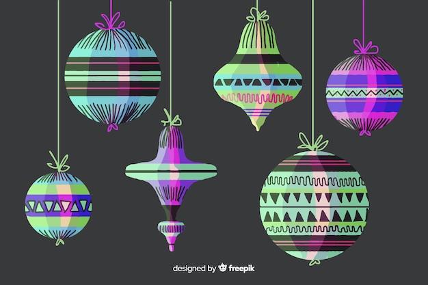 Bolas de natal coloridas em aquarela