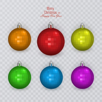 Bolas de natal coloridas em fundo transparente, decorações de natal