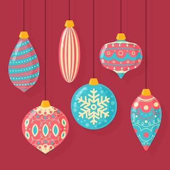 Bolas de natal coloridas mão desenhada