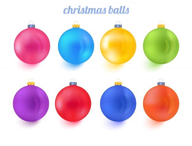 Bolas de natal colorido ano novo vector coleção