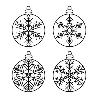 Bolas de natal com decorações de ano novo ppatterns com flocos de neve e corte de papel a laser