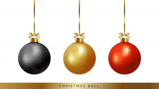 Bolas de natal com fita e arco