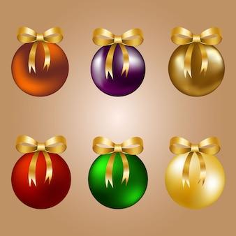 Bolas de natal com fitas douradas