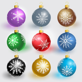 Bolas de natal com flocos de neve